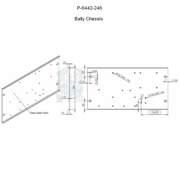 Bally Chassis, Trägerplatte für Trafo und Platinen Spiegelglanz